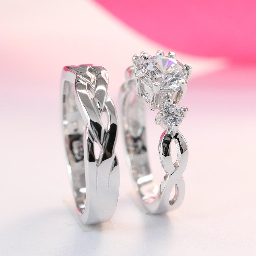 Nhẫn đôi bạc nhẫn cặp bạc đẹp họa tiết vô cực ND0181