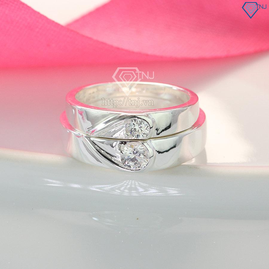 Nhẫn cặp bạc đẹp trái tim ghép ND0187