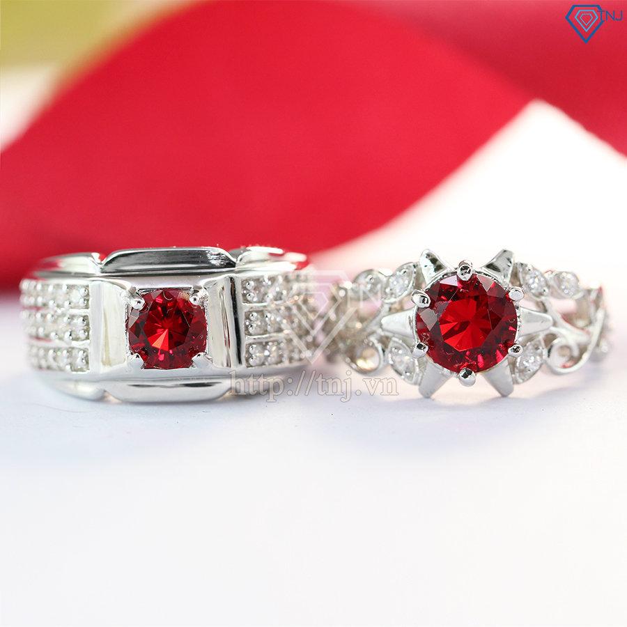 nhẫn đôi bạc nhẫn cặp bạc đẹp đính đá đỏ ND0192