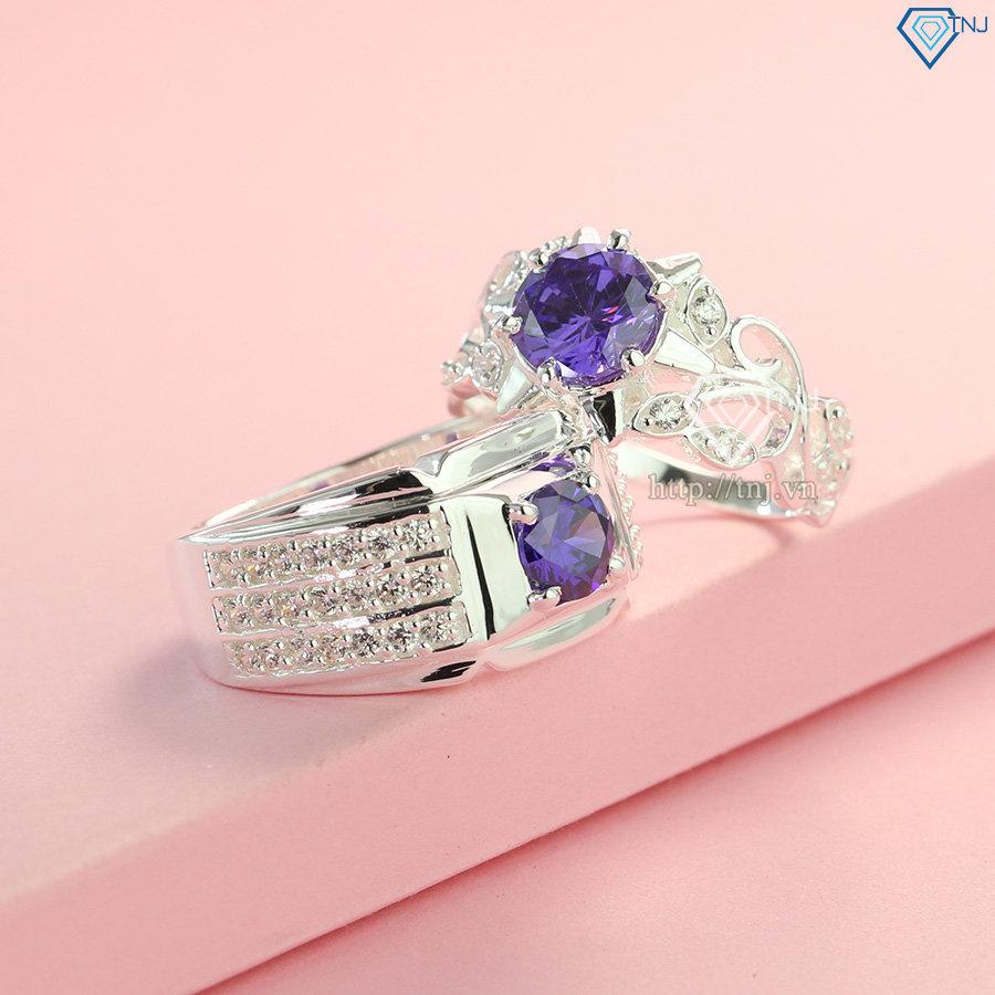 Nhẫn đôi bạc nhẫn cặp bạc đẹp đính đá tím ND0192
