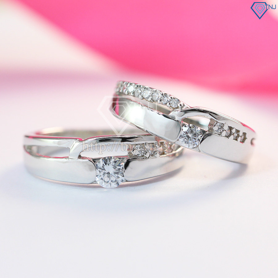 Nhẫn đôi bạc nhẫn cặp bạc đính đá đẹp ND0195