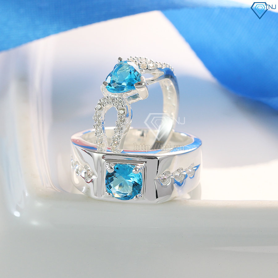 Nhẫn đôi bạc nhẫn cặp bạc đẹp đính đá xanh ND0212