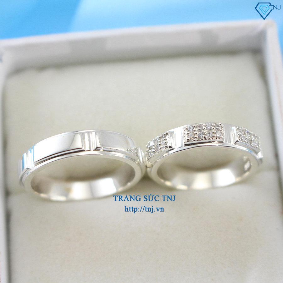 Nhẫn đôi bạc nhẫn cặp bạc đẹp đính đá ND0227