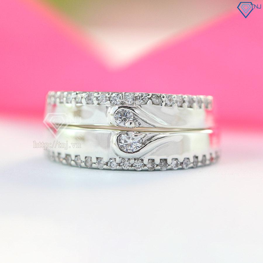 Nhẫn đôi bạc nhẫn cặp bạc đẹp trái tim ghép ND0238