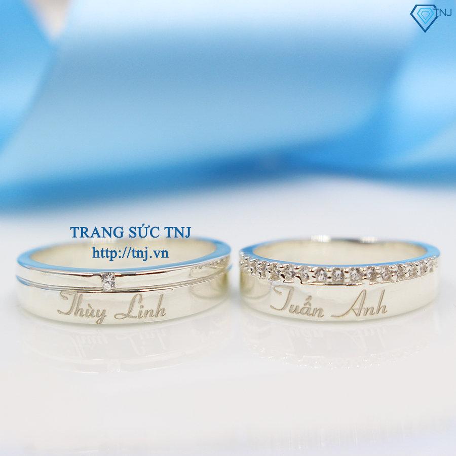 Nhẫn đôi bạc nhẫn cặp bạc đẹp khắc tên ND0240