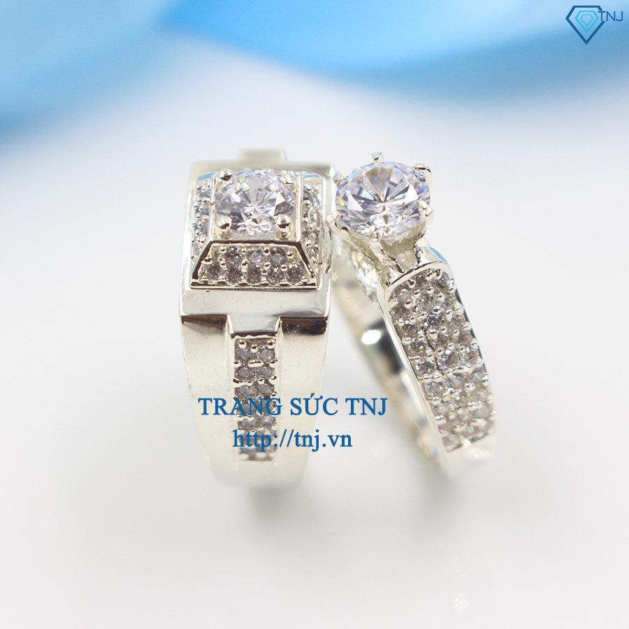Nhẫn đôi bạc nhẫn cặp bạc đẹp đính đá sang trọng ND0242