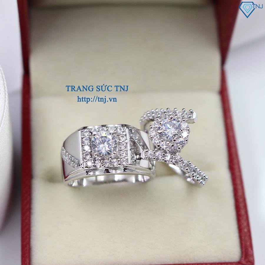 Nhẫn đôi bạc nhẫn cặp bạc đẹp đính đá sang trọng ND0243