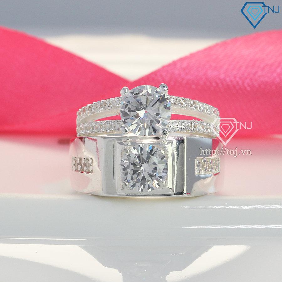 Nhẫn đôi bạc nhẫn cặp bạc đẹp đính đá sang trọng ND0246