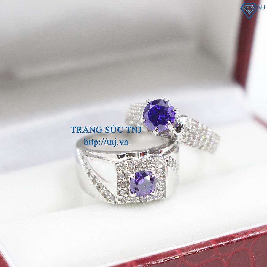 Nhẫn đôi bạc nhẫn cặp bạc đính đá tím ND0247