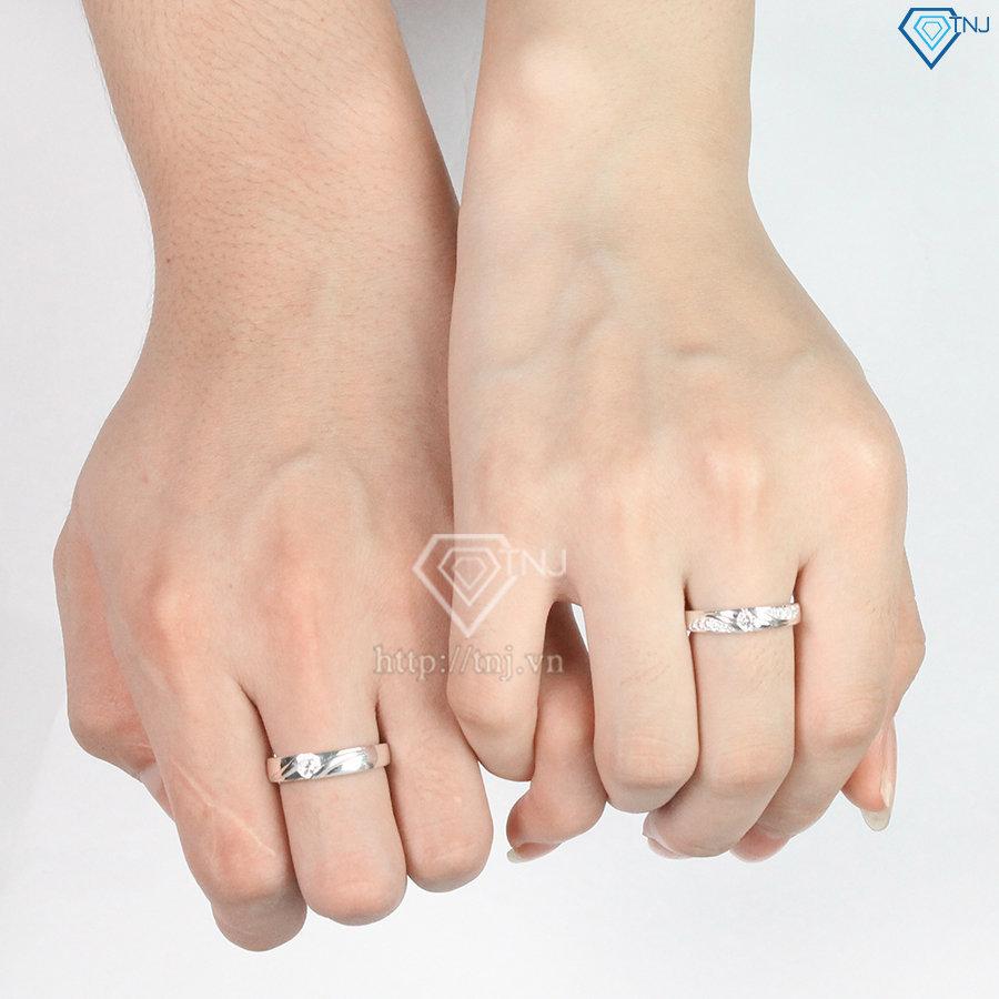 Nhẫn đôi bạc nhẫn cặp bạc khắc tên ND0253