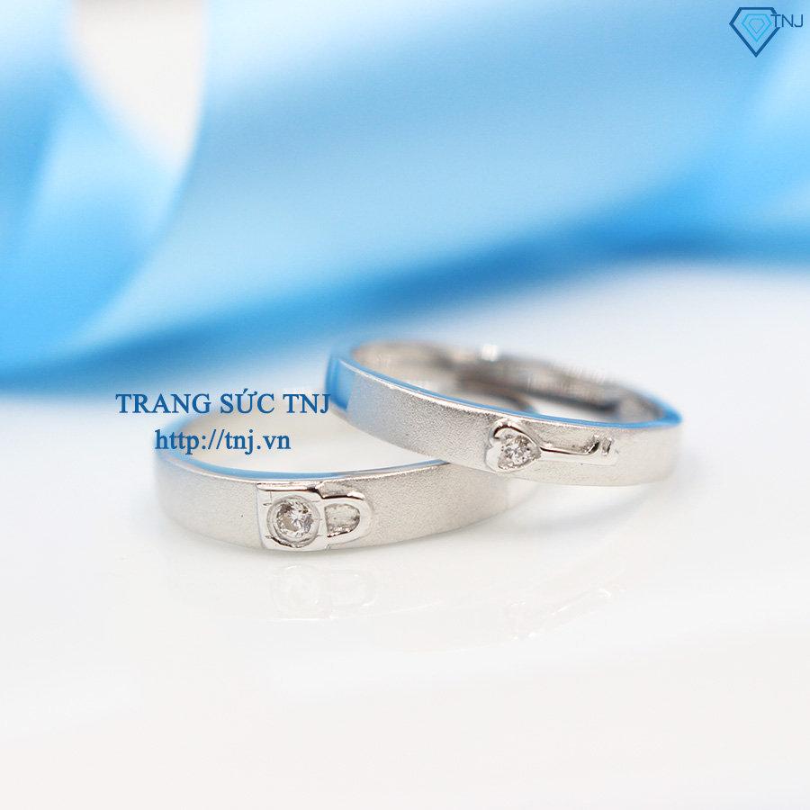 Nhẫn đôi bạc nhẫn cặp bạc ổ khóa và chìa khóa ND0264