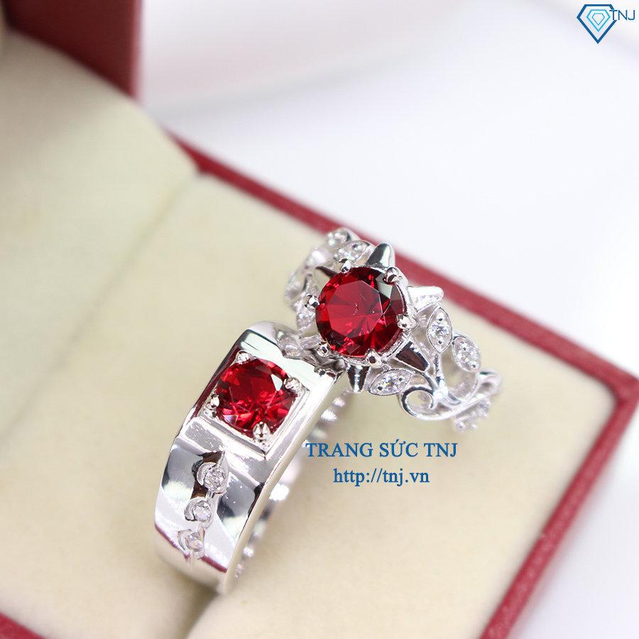 Nhẫn đôi bạc nhẫn cặp bạc đính đá đỏ ND0265