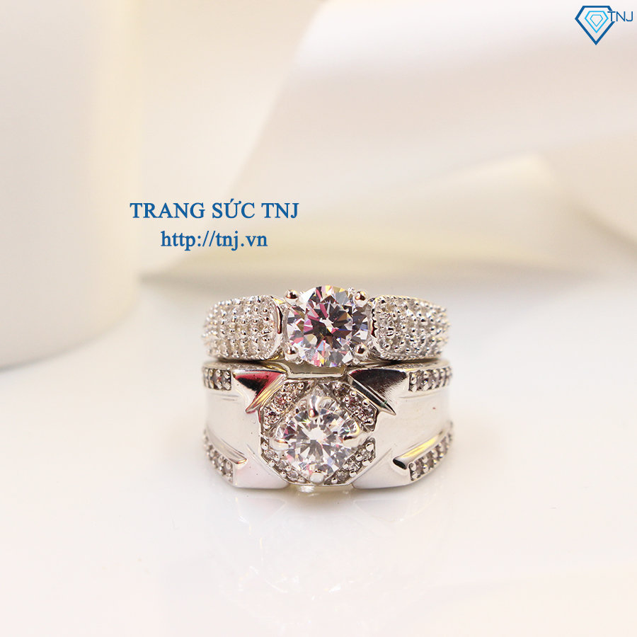 Nhẫn đôi bạc nhẫn cặp bạc đẹp sang trọng ND0267