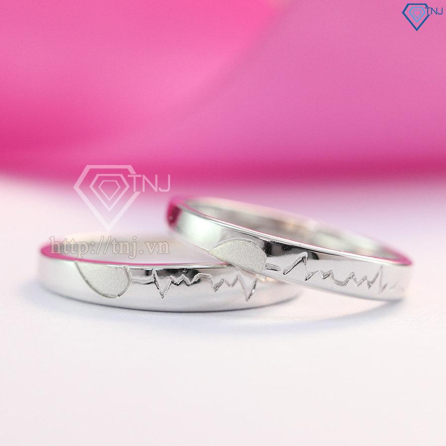 Nhẫn đôi bạc nhẫn cặp bạc đẹp trái tim ghép ND0274