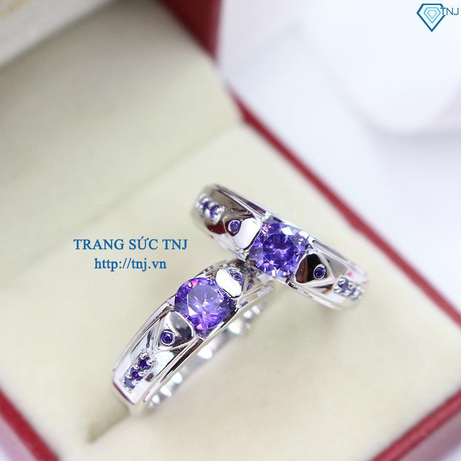 Nhẫn đôi bạc nhẫn cặp bạc đẹp đính đá tím ND0280