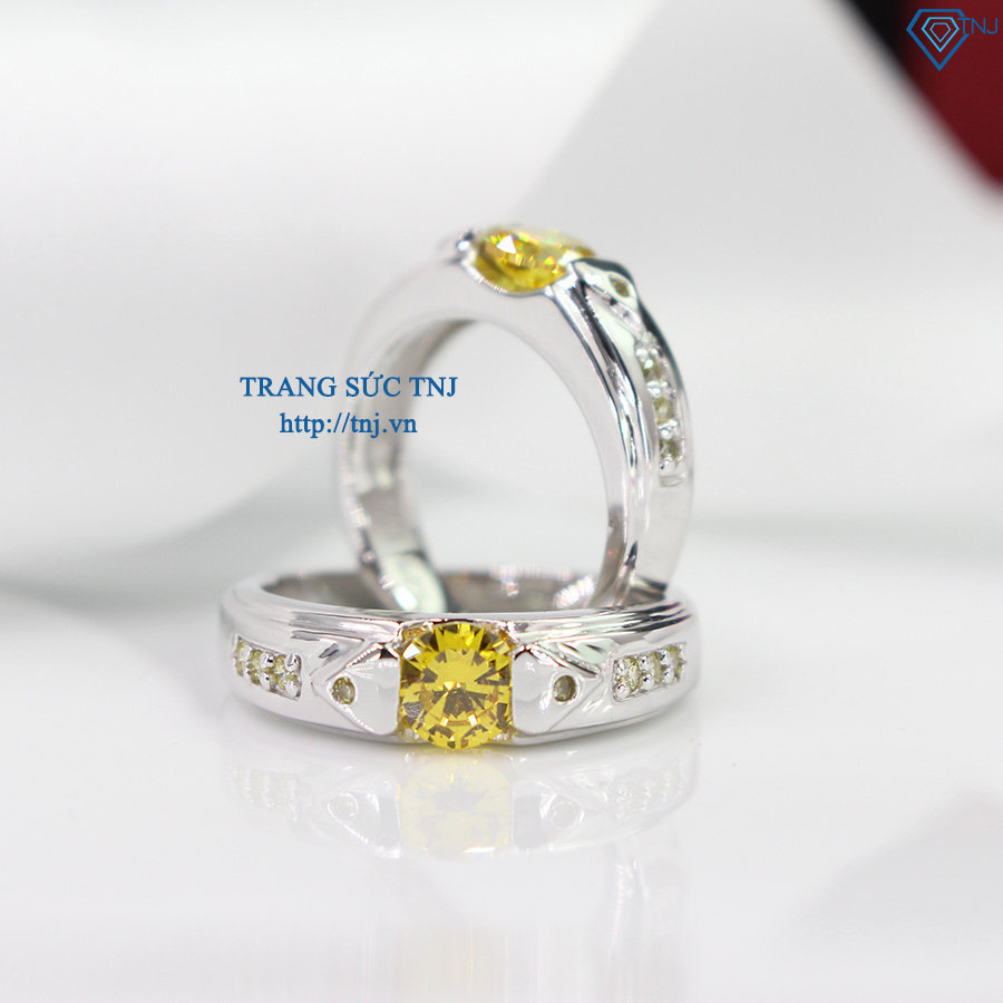 Nhẫn đôi bạc nhẫn cặp bạc đẹp đính đá vàng ND0280