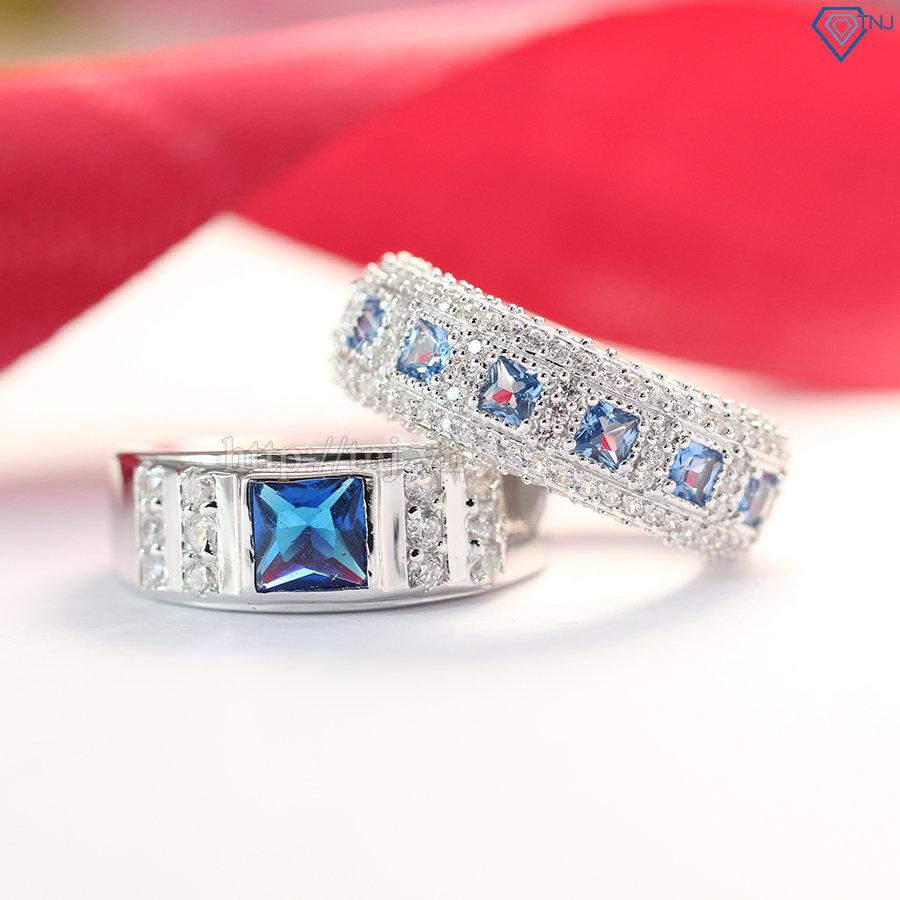 Nhẫn đôi bạc nhẫn cặp bạc đẹp đính đá topaz xanh dương ND0281