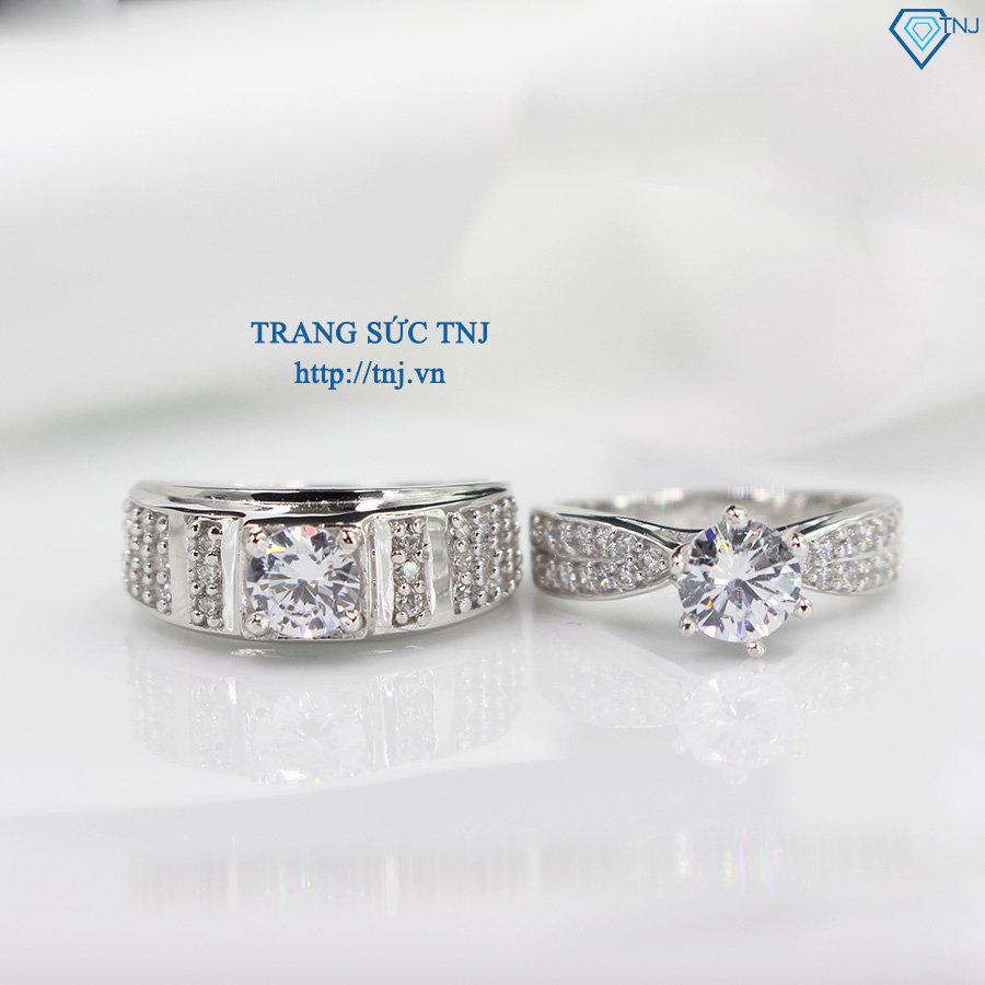 Nhẫn đôi bạc nhẫn cặp bạc đẹp đính đá sang trọng ND0284