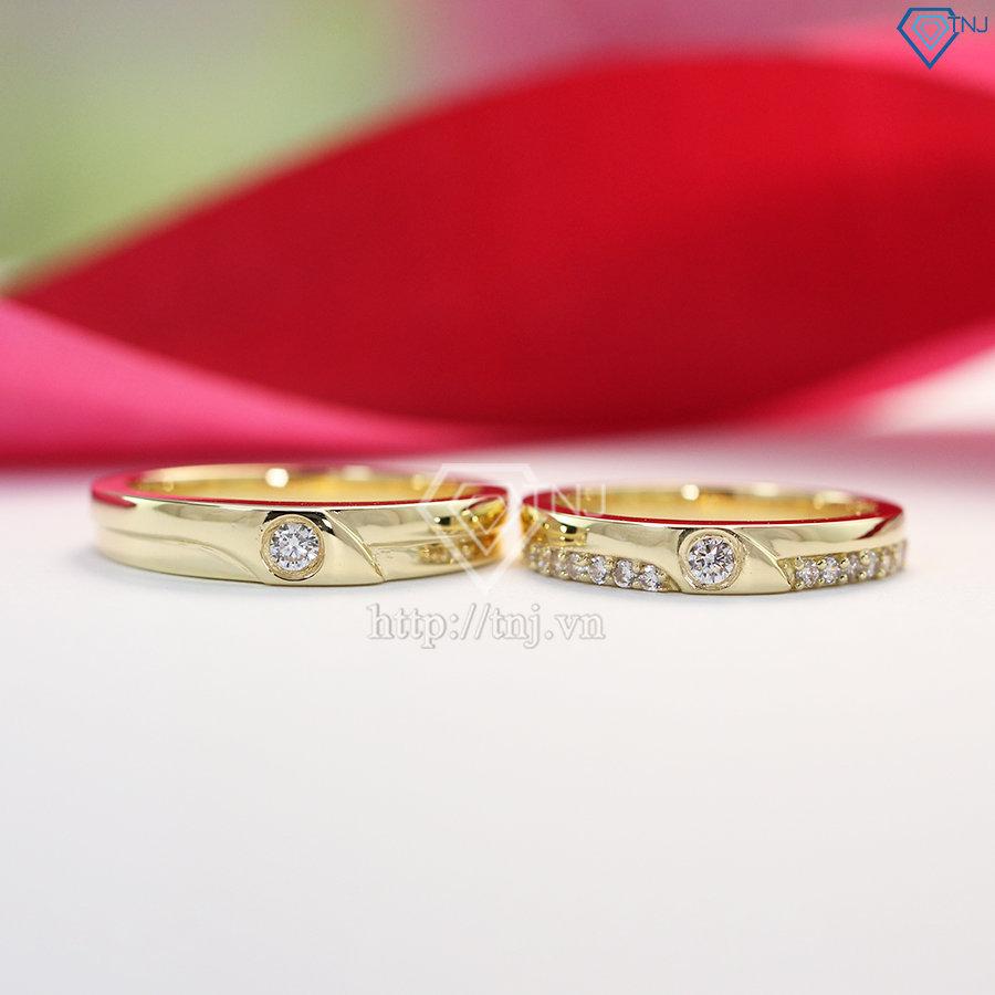 nhẫn đôi bạc nhẫn cặp bạc đẹp xi mạ vàng ND0288
