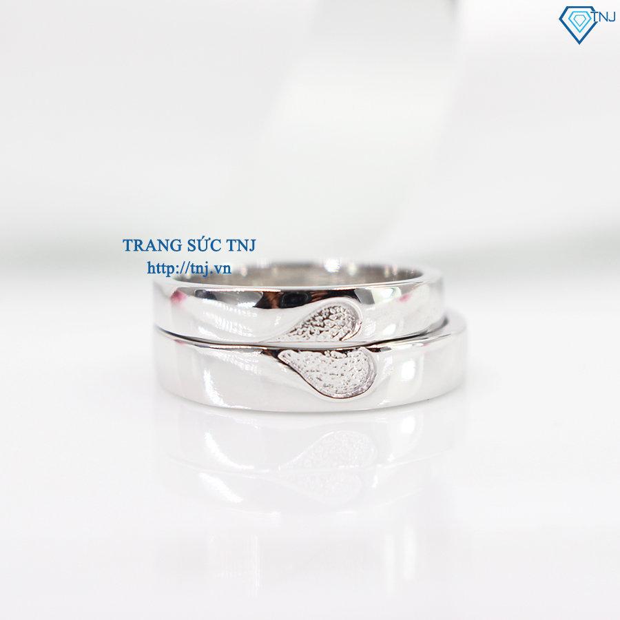 Nhẫn đôi bạc nhẫn cặp bạc đẹp trái tim ghép ND0293