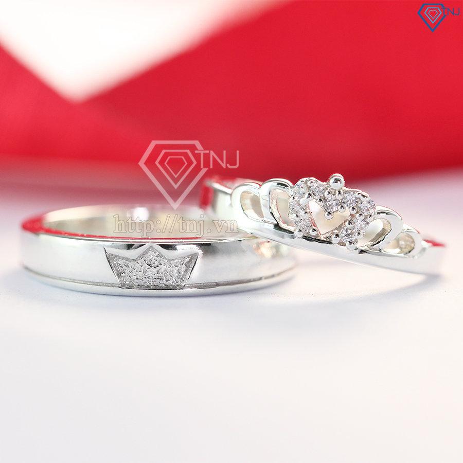 Nhẫn đôi bạc nhẫn cặp bạc đẹp King Queen đơn giản ND0303