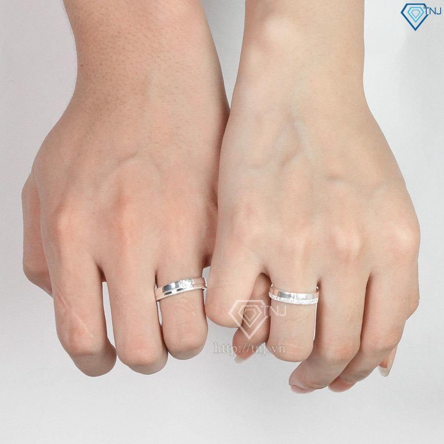 Nhẫn đôi bạc nhẫn cặp bạc đẹp đính đá ND0338