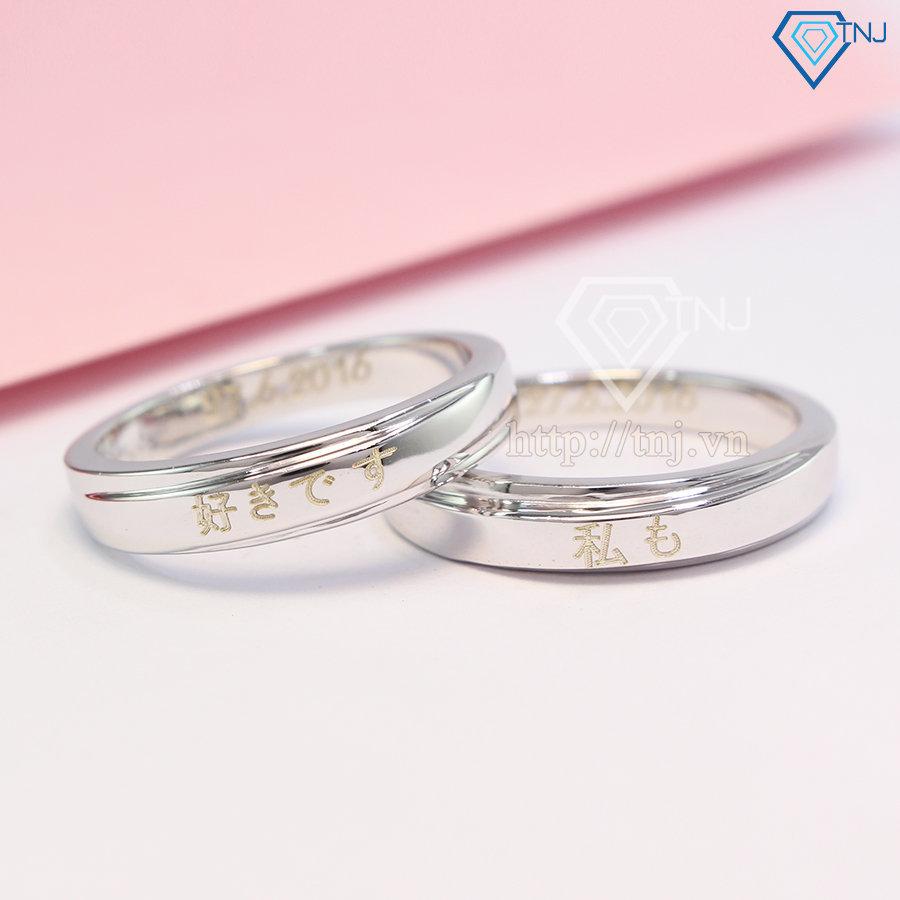 Nhẫn đôi bạc nhẫn cặp bạc khắc tên ND0341