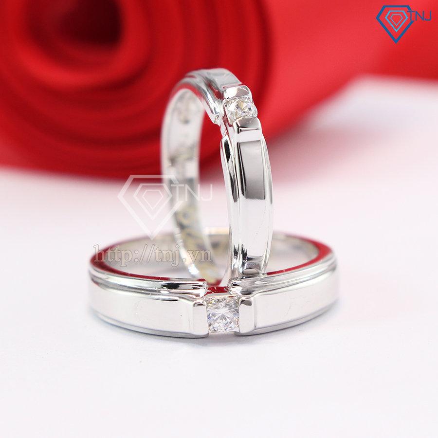 Nhẫn đôi bạc nhẫn cặp bạc đẹp đơn giản ND0342
