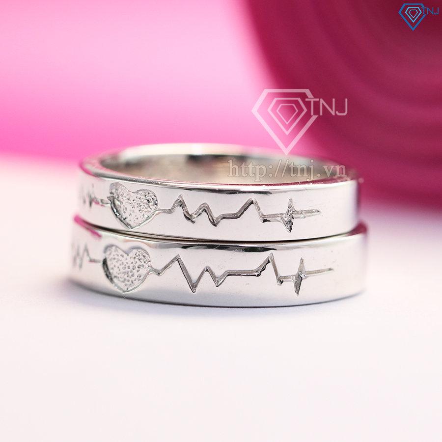 Nhẫn đôi bạc nhẫn cặp bạc nhịp đập trái tim ND0345