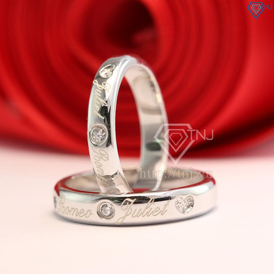 Nhẫn đôi bạc nhẫn cặp bạc đẹp khắc tên ND0347
