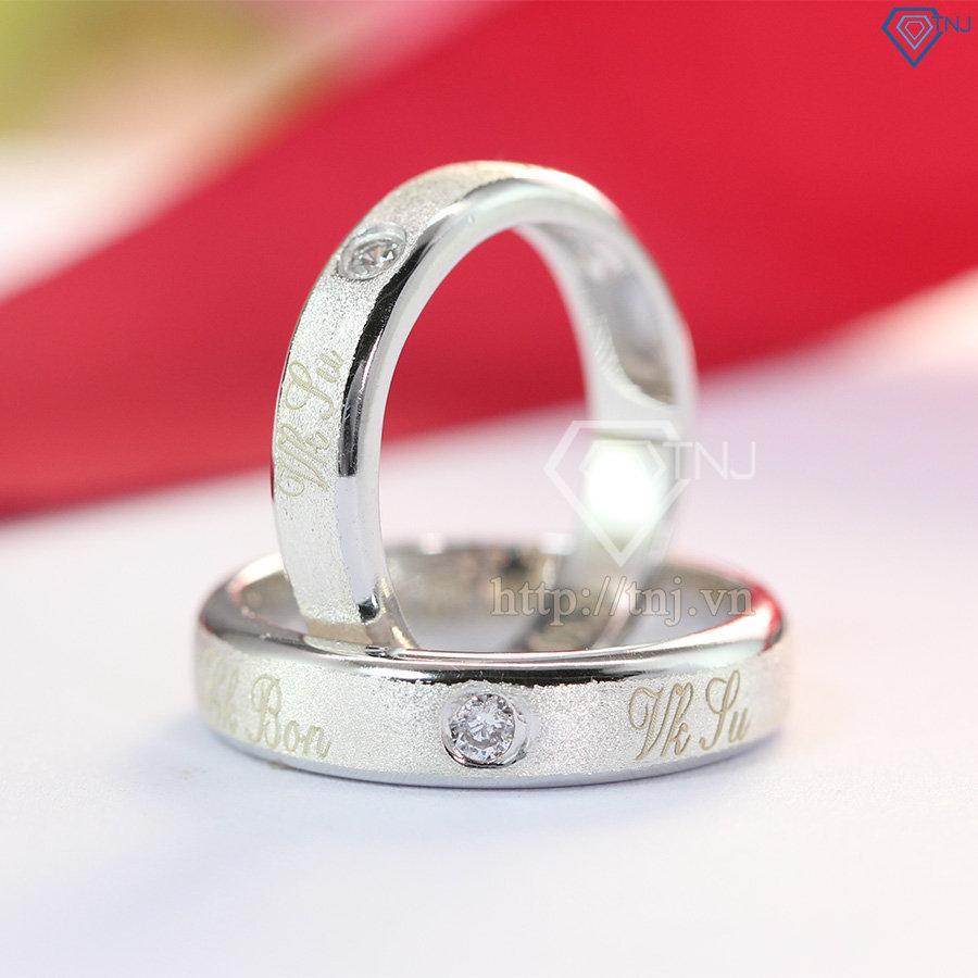 Nhẫn bạc đôi khắc tên theo yêu cầu ND0351