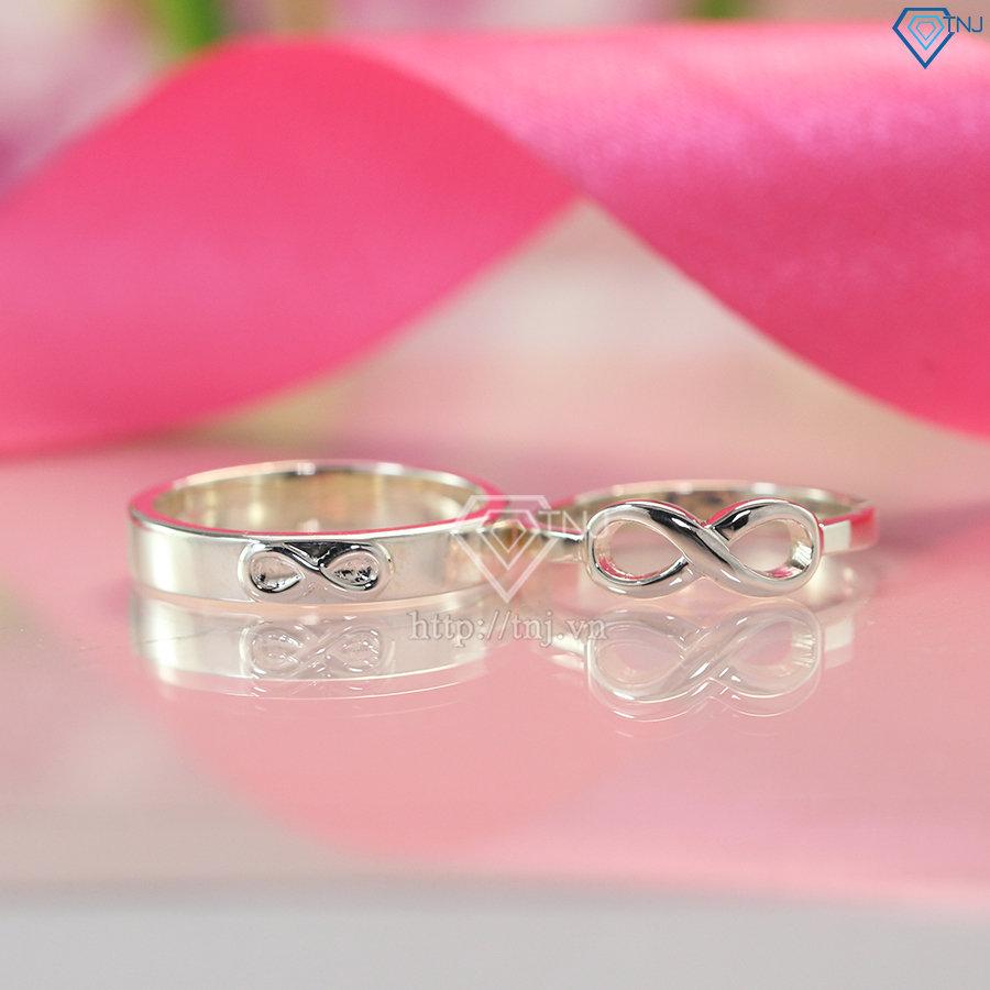 Nhẫn đôi bạc nhẫn cặp bạc hình vô cực đơn giản ND0386