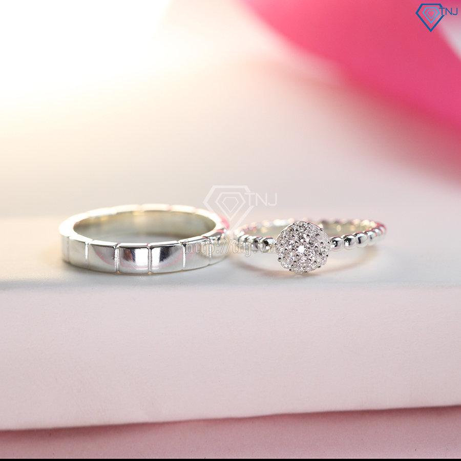 Nhẫn đôi bạc nhẫn cặp bạc đẹp ND0388