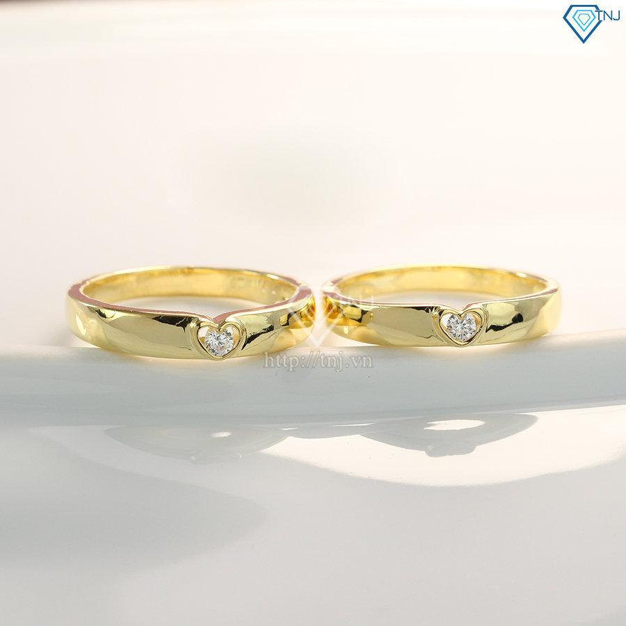 Nhẫn cặp bạc mạ vàng 18K hình trái tim ND0390