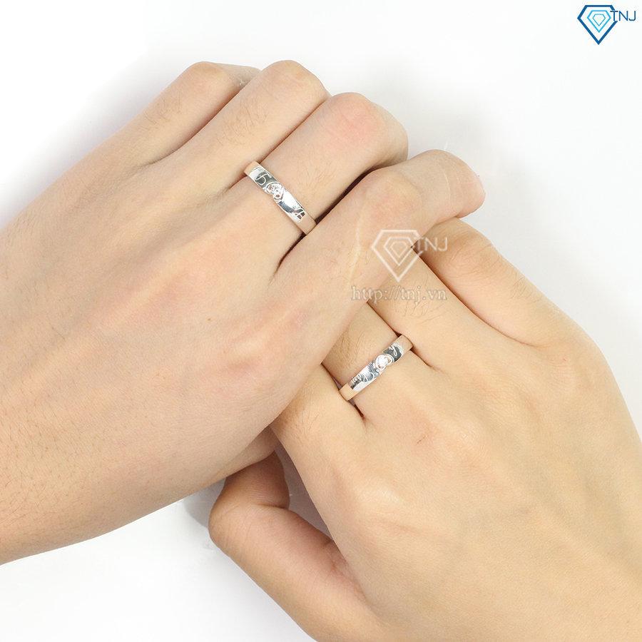 Nhẫn đôi bạc nhẫn cặp bạc trái tim đẹp ND0390