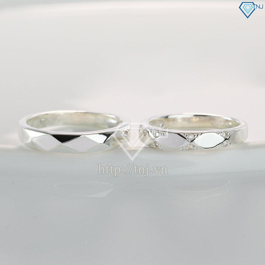 Nhẫn đôi bạc nhẫn cặp bạc kẻ caro đẹp ND0391
