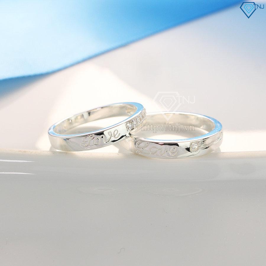 Nhẫn đôi bạc nhẫn cặp bạc chữ Love đẹp ND0392
