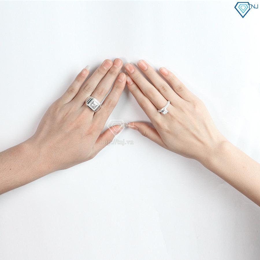 Nhẫn đôi bạc nhẫn cặp bạc đẹp sang trọng ND0394