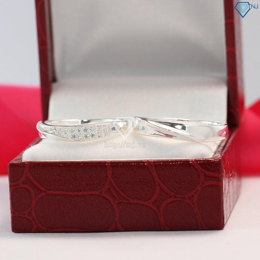 Nhẫn đôi bạc nhẫn cặp bạc khắc tên ND0397