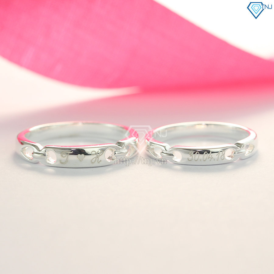 Nhẫn đôi bạc nhẫn cặp bạc khắc tên theo yêu cầu ND0399