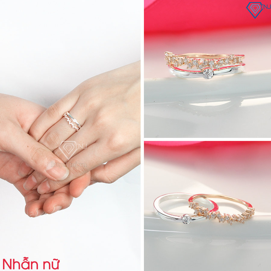 Nhẫn đôi bạc nhẫn cặp bạc đẹp 2 trong 1 xi mạ vàng 2 màu ND0400