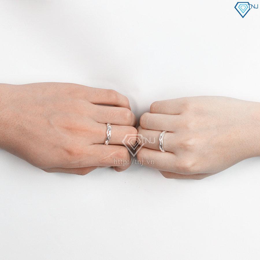 Nhẫn đôi bạc nhẫn cặp bạc đẹp họa tiết vô cực ND0401