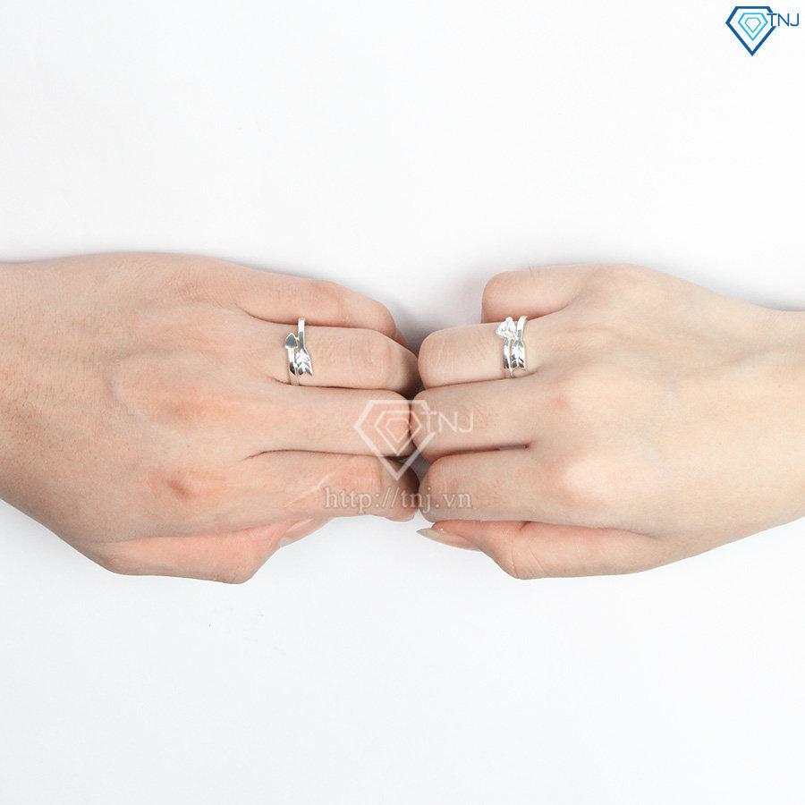 Nhẫn đôi bạc nhẫn cặp bạc đẹp hình mũi tên ND0402