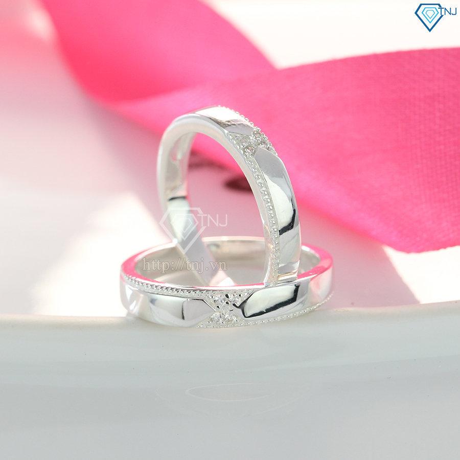 Nhẫn đôi bạc nhẫn cặp bạc đính đá đẹp ND0404