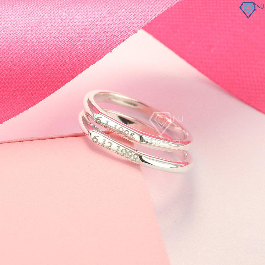 Nhẫn đôi bạc nhẫn cặp bạc giá rẻ khắc tên ND0407