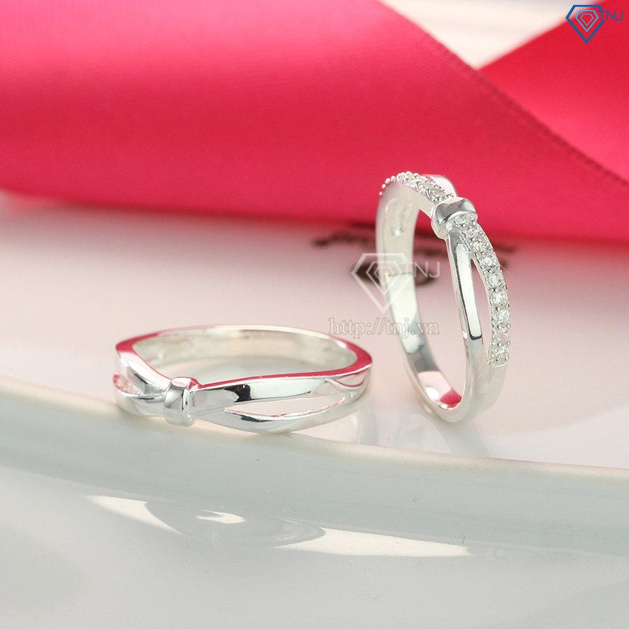 Nhẫn đôi bạc nhẫn cặp bạc đẹp họa tiết vô cực ND0408