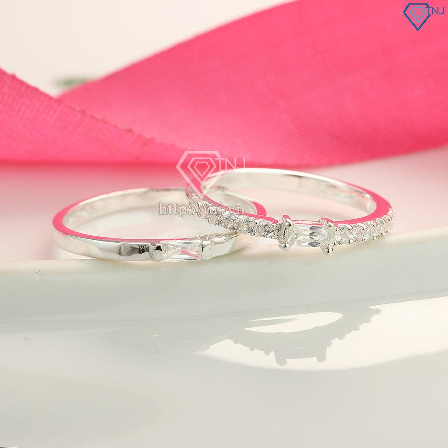 Nhẫn đôi bạc nhẫn cặp bạc đẹp giá rẻ đính đá ND0419