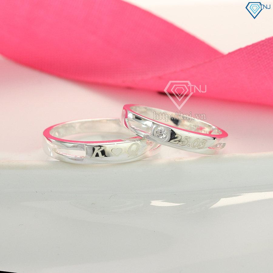Nhẫn đôi bạc nhẫn cặp bạc khắc tên ND0420