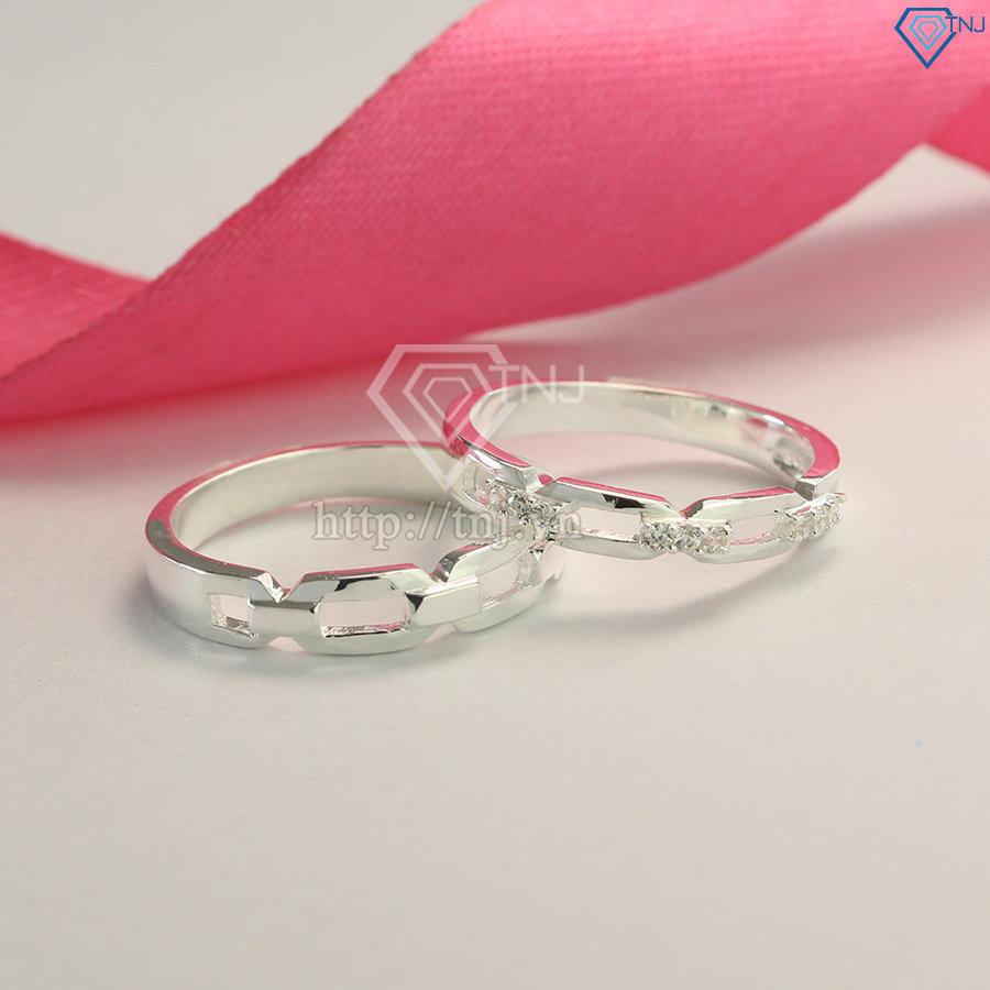 Nhẫn đôi bạc nhẫn cặp bạc đẹp mắt xích ND0434