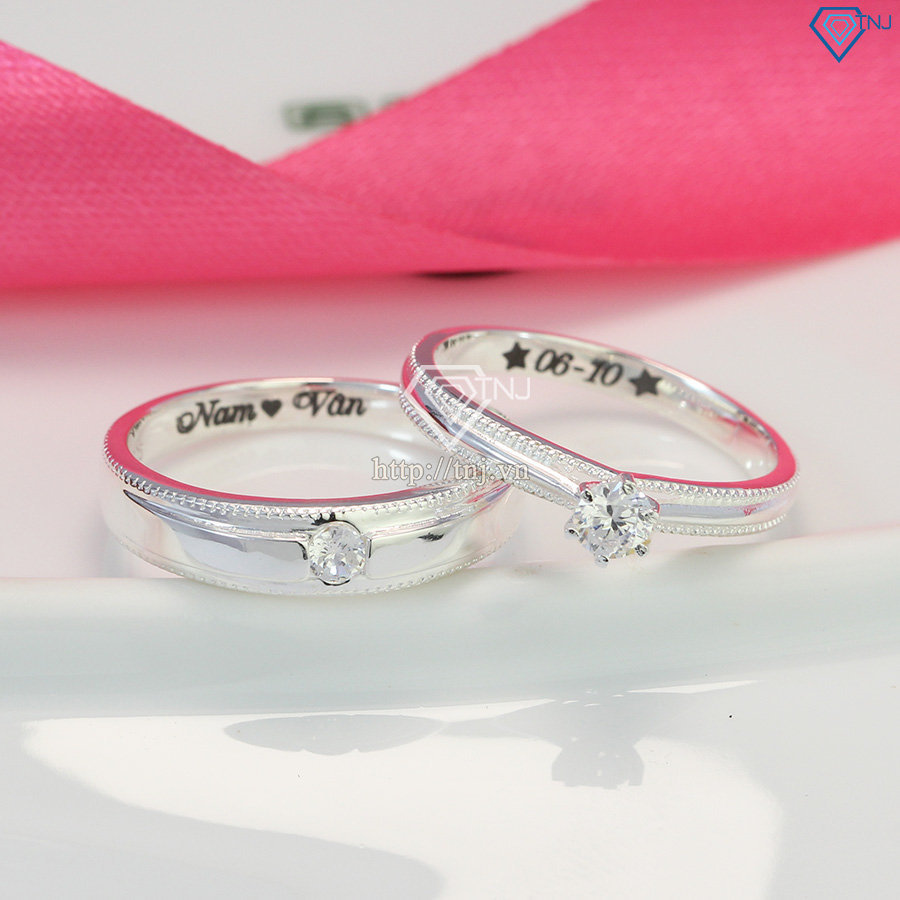 Nhẫn đôi bạc nhẫn cặp bạc khắc tên ND0442